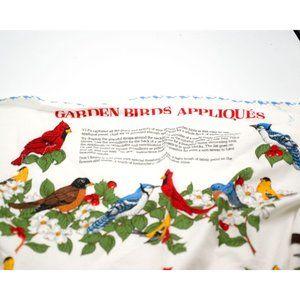 Vintage Garden Birds Applique Fabric Panel, 80s